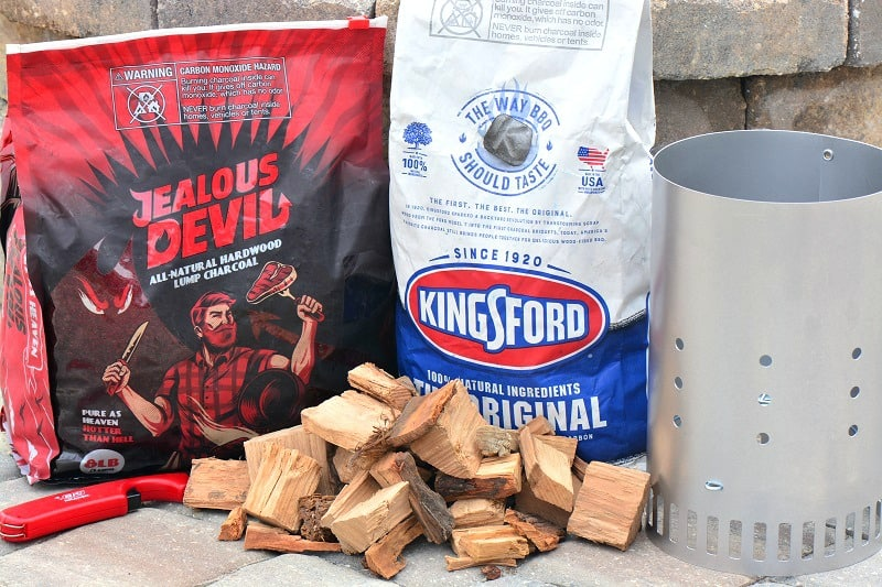 coals, chimney starter and wood chunks