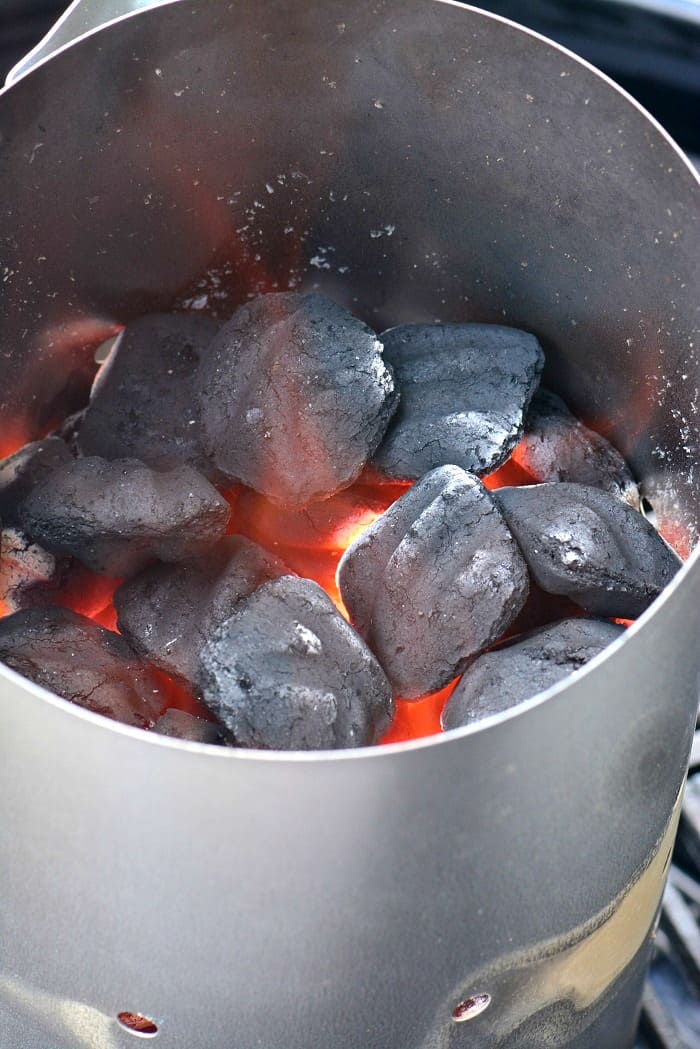 lit coals in the chimney