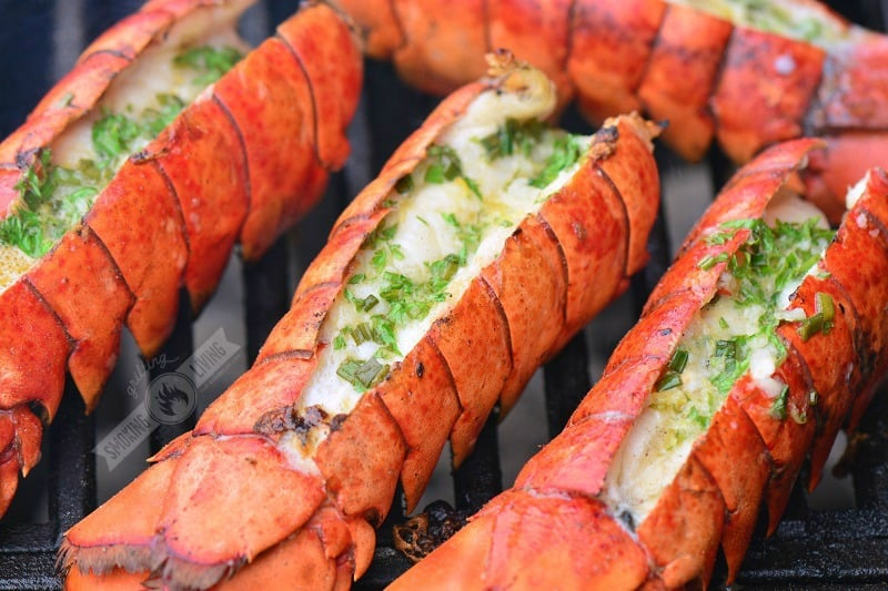 grilled lobster tails on the grill