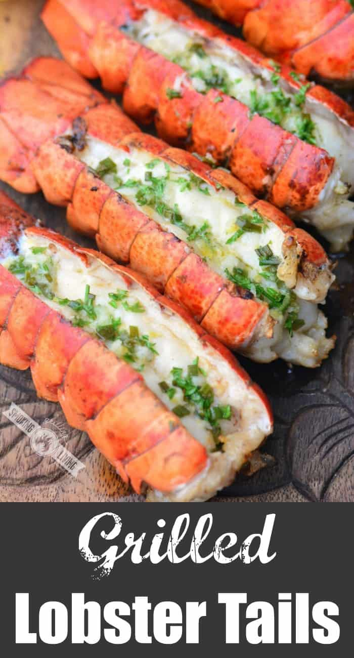 grilled lobster tails collage with wording