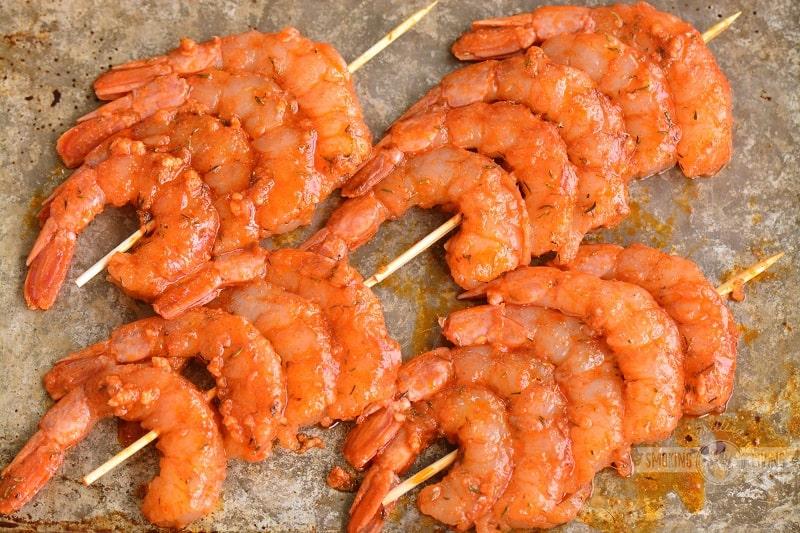 shrimp on skewers in wet rub
