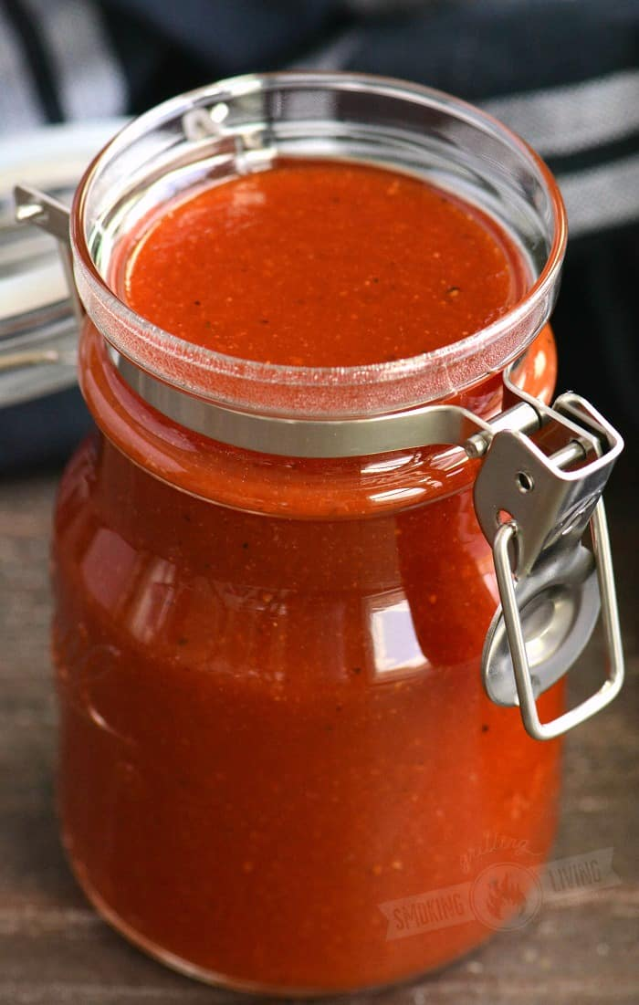 close up of the sauce in a jar
