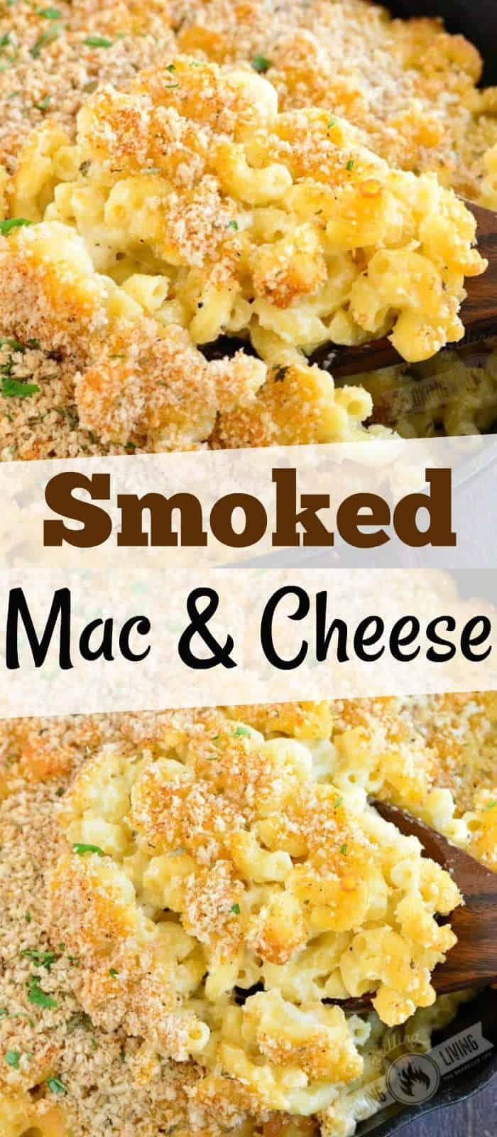collage of two mac and cheese images with title words in the middle