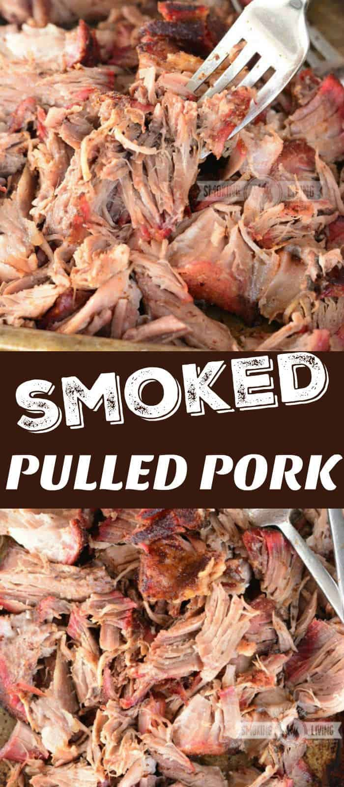 pulled pork collage of two images showing scooping it with a fork and on a sheet pan
