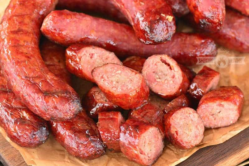 horizontal image of sliced smoked sausage