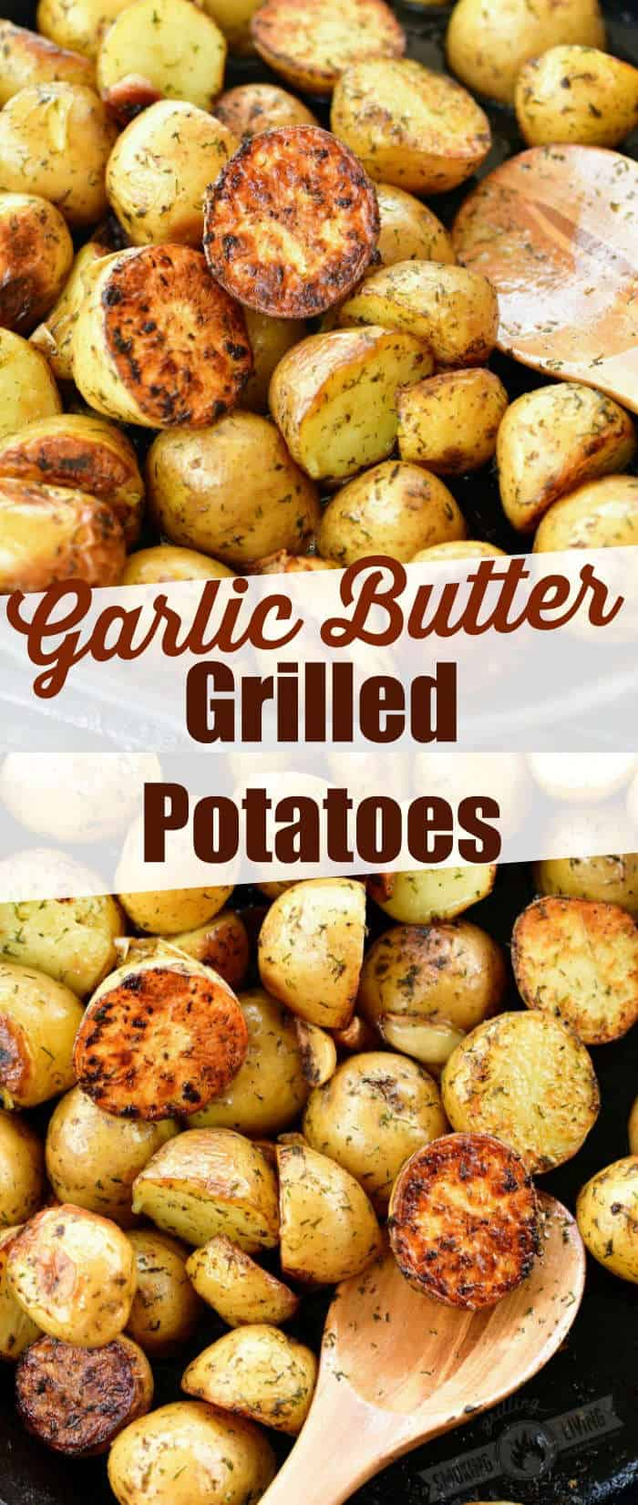 collage of two images of crispy grilled potatoes with title in the middle