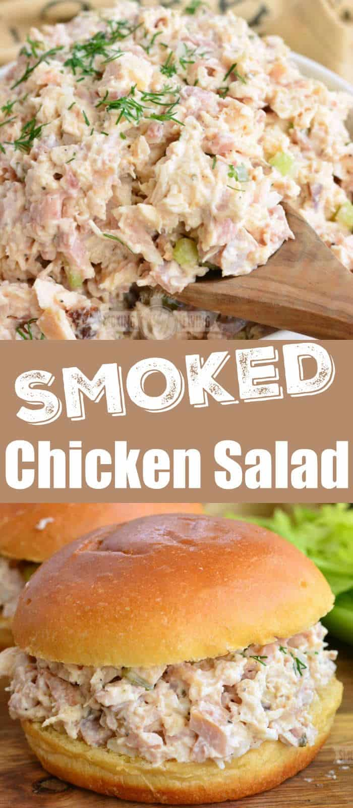 long collage of scooping chicken salad with a spoon and a sandwich below, words in the middle