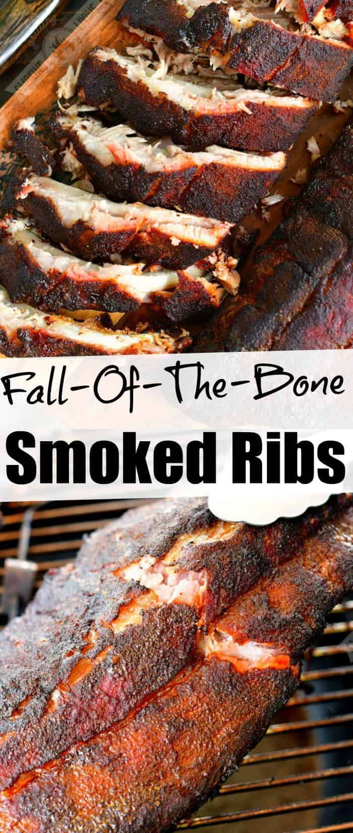 collage of two images on cut rack of ribs on top and cracking a rack of ribs on the grill on the bottom