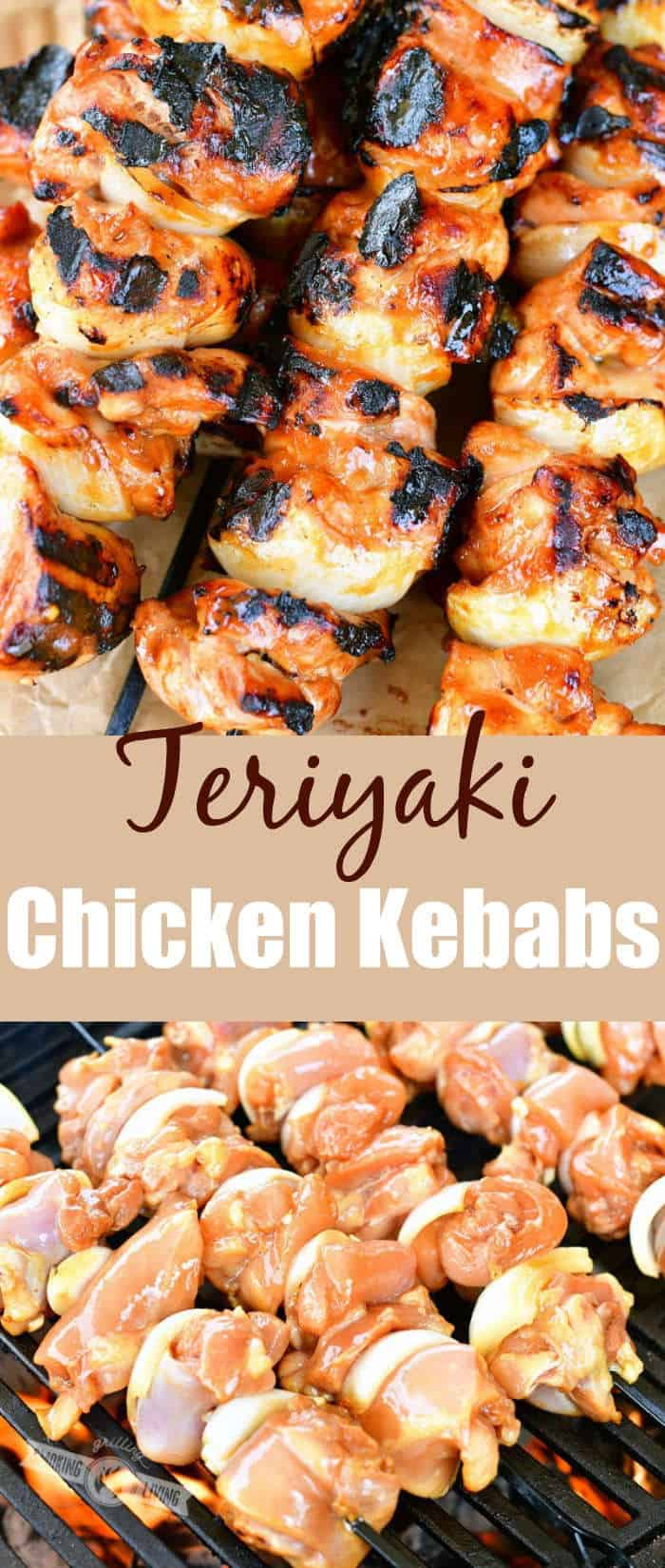 collage of two images of grilled chicken kebabs on top and uncooked kebabs on the grill on the bottom