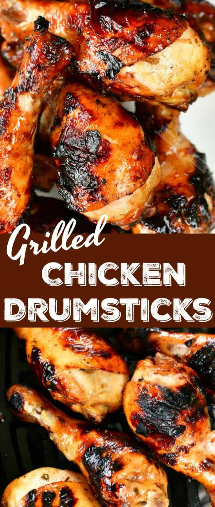 collage of two images of grilled chicken legs close up on top and bottom with title in the middle