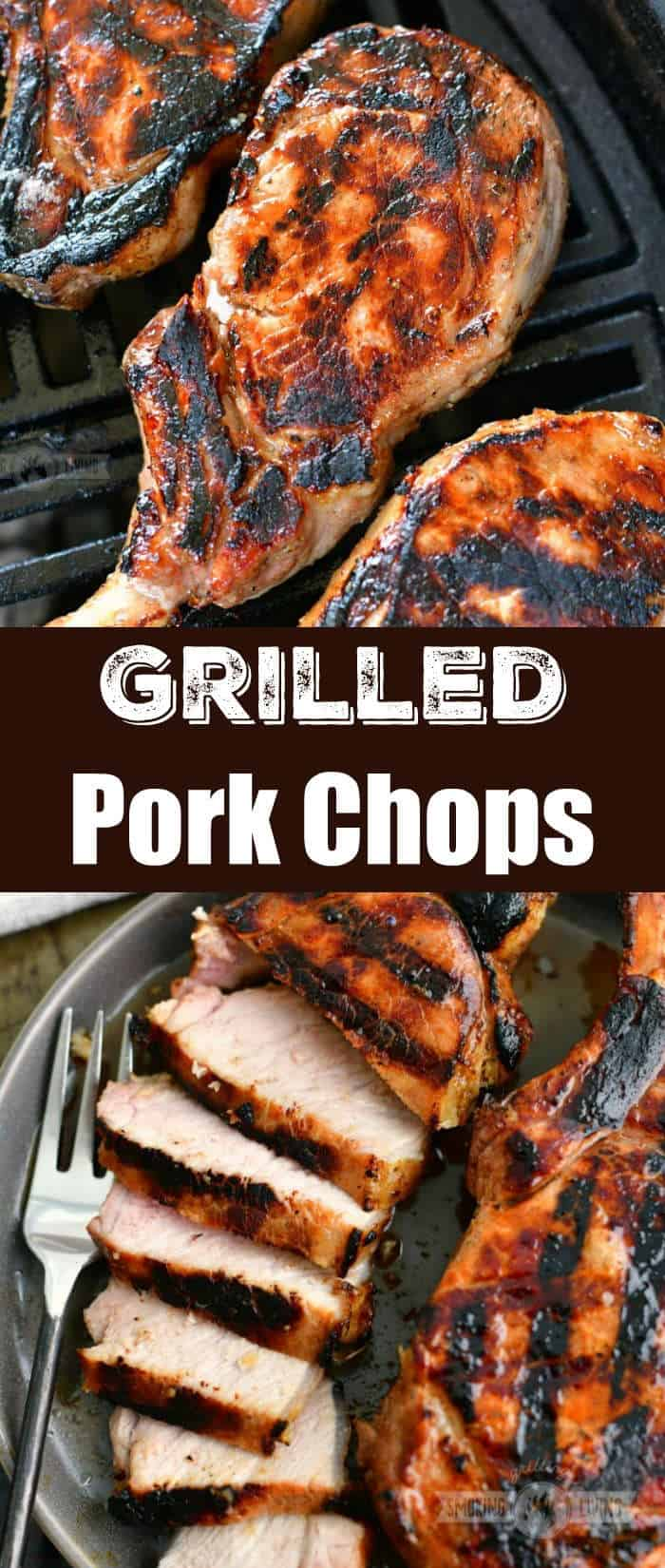 collage of two images of pork chops on the grill on top and sliced pork chop on a plate on the bottom