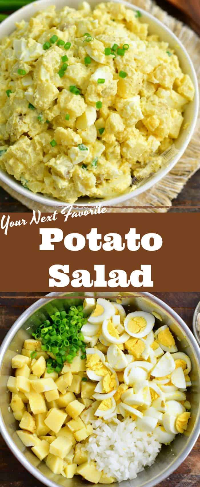 collage of two images of mixed potato salad in a white bowl on top and mixing bowl with unmixed ingredients on the bottom