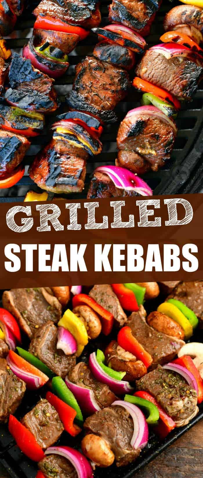 collage of two images on grilled steak kebab skewers on the grill on top and uncooked steak and vegetable skewers in a baking pan on the bottom