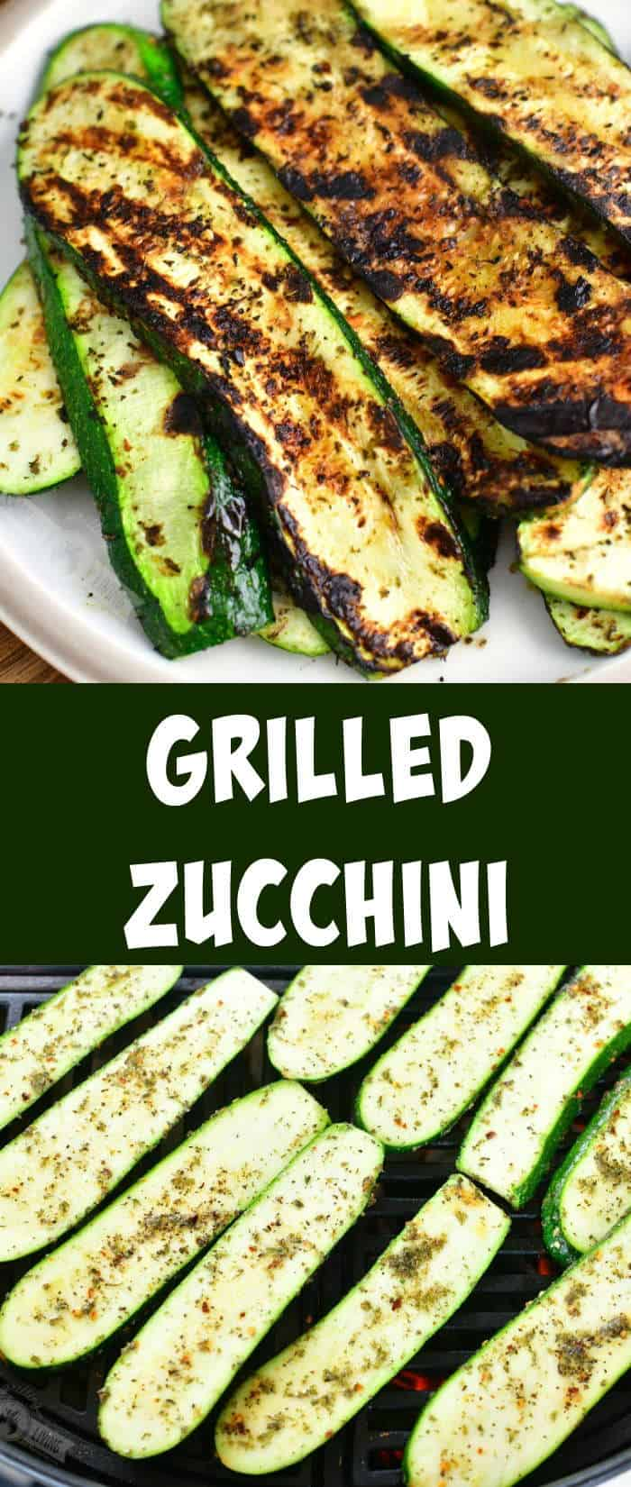 collage of two images: long grilled zucchini slices on a plate on top and uncooked zucchini slices on the grill on the bottom