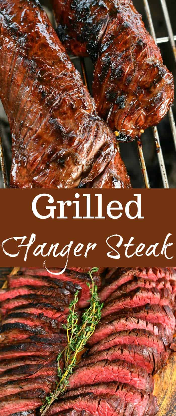 collage of two images of grilled steak and sliced steak with title words in the middle