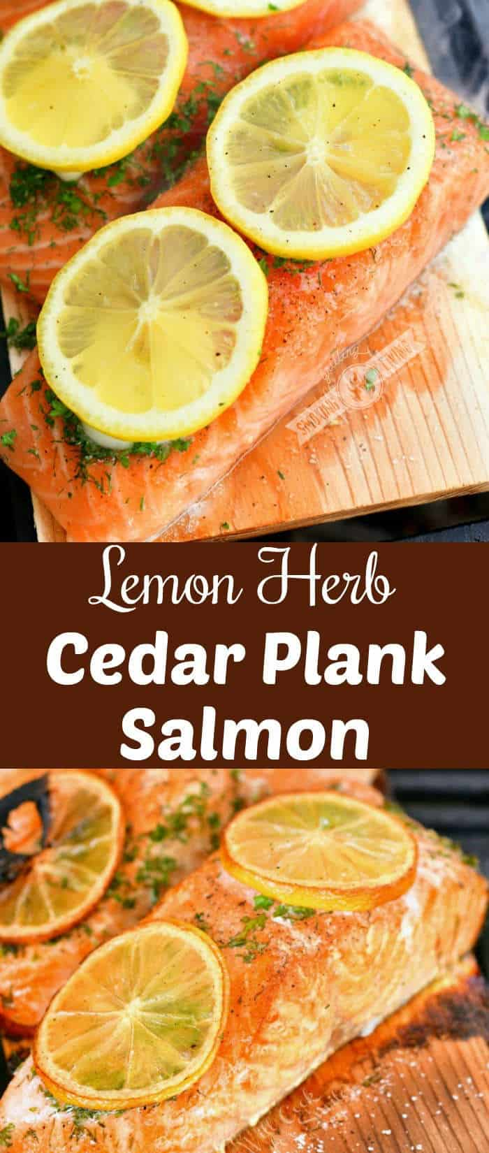 collage of two images of salmon on cedar plank and cooked salmon on the plank below