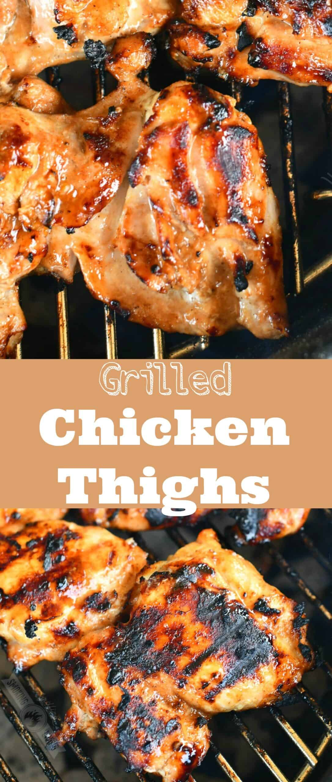 collage of two images of close up chicken on the grill and chicken thigs on the grill