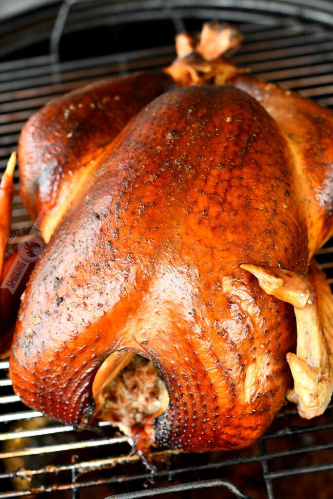 smoked turkey on the smoker