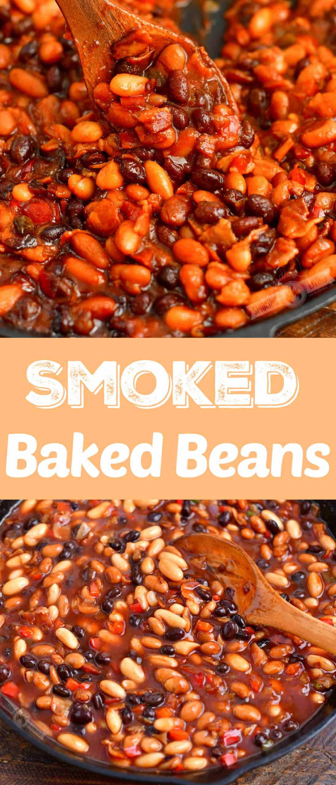 title collage of two images of smoked baked beans and title words in a middle