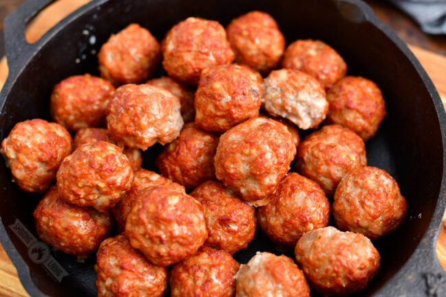 cooked meatballs in a skillet