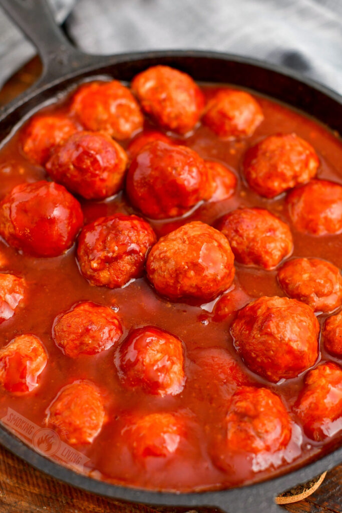 smoked bbq meatballs in a cast iron skillet