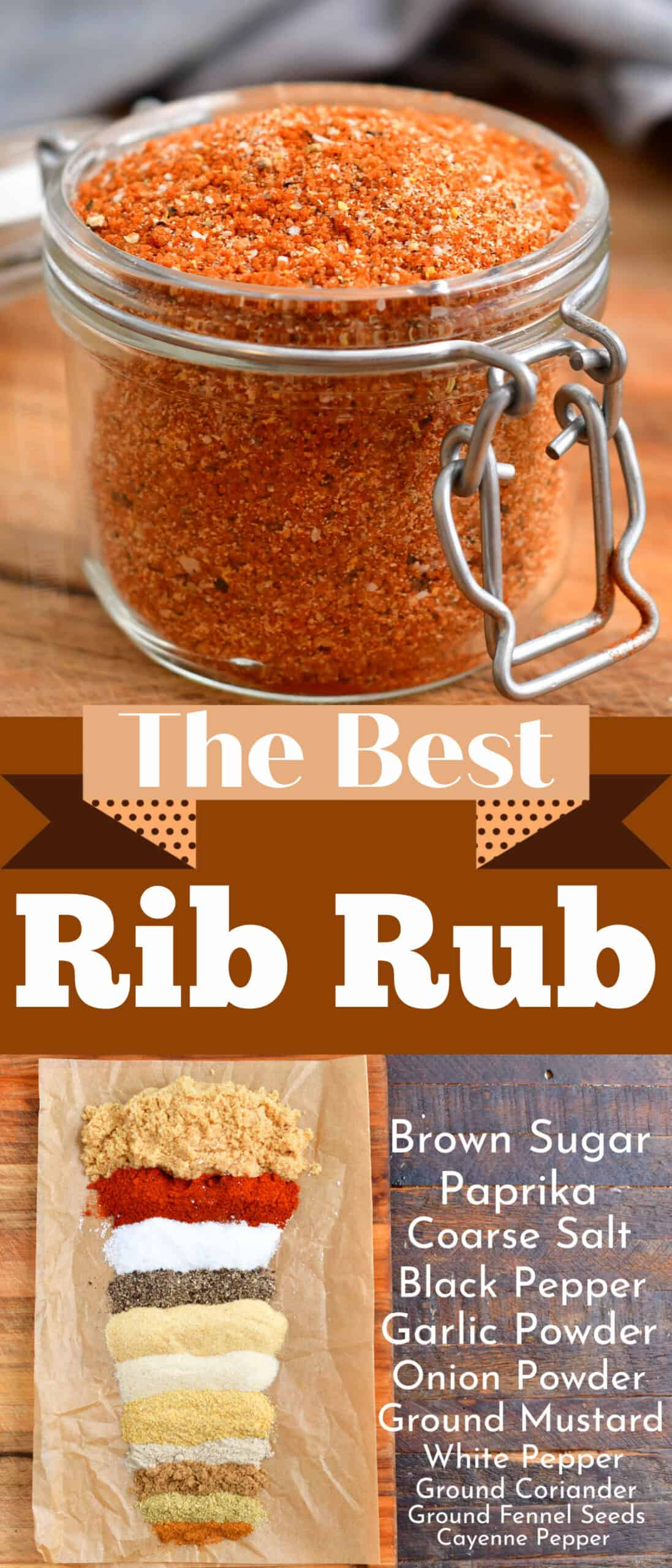title collage of the rib rub with photos of the blend in a jar