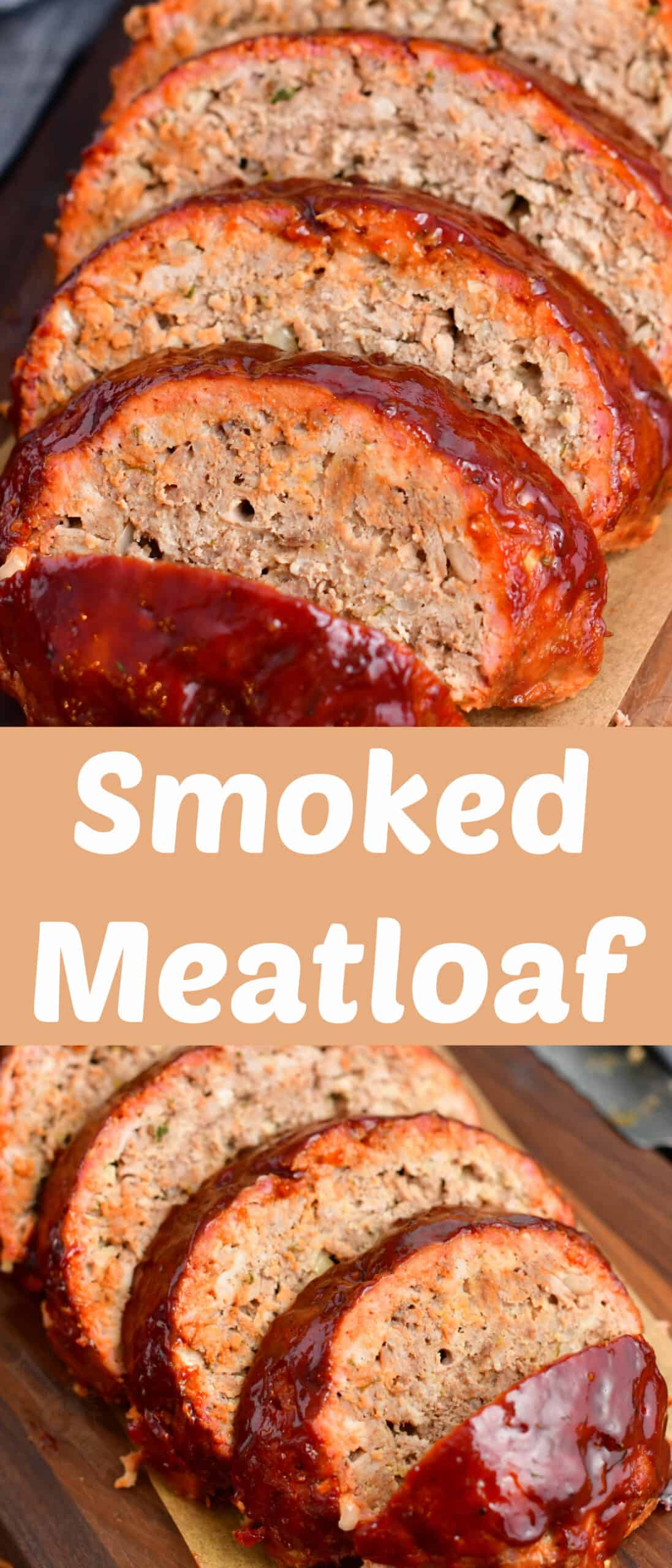title collage image of sliced smoked meatloaf