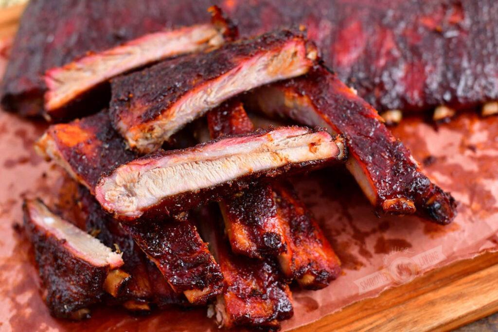 smoked ribs cut onto individual pieces
