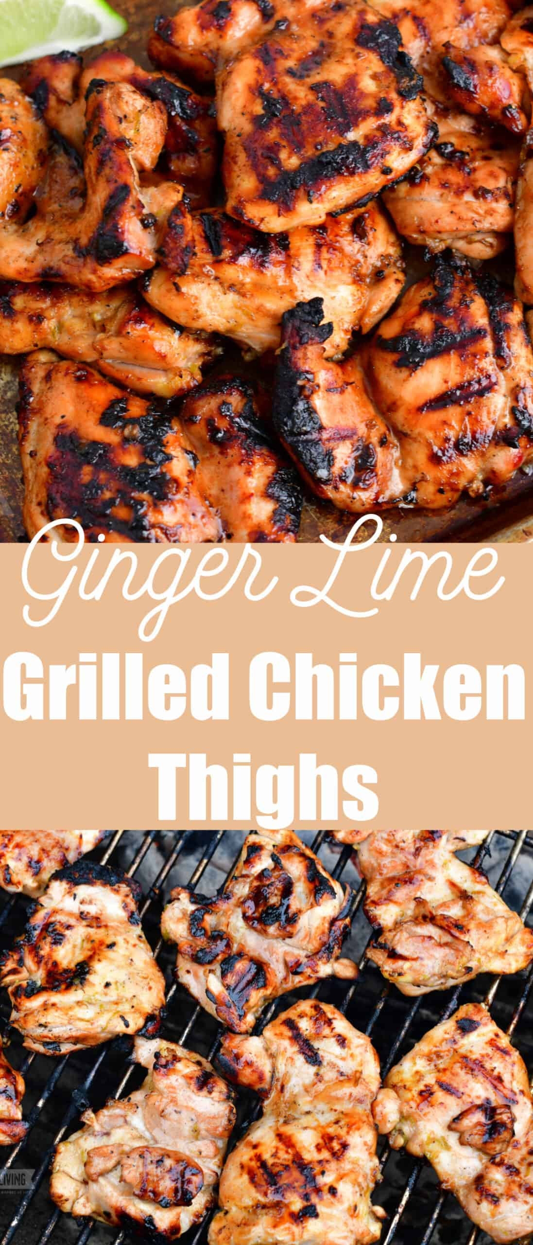 title collage of two images of grilled chicken and chicken on the grill grate