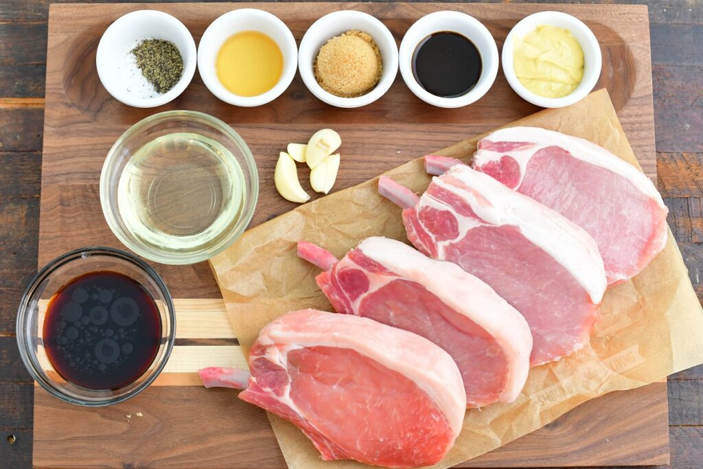 ingredients for pork marinade on a cutting board