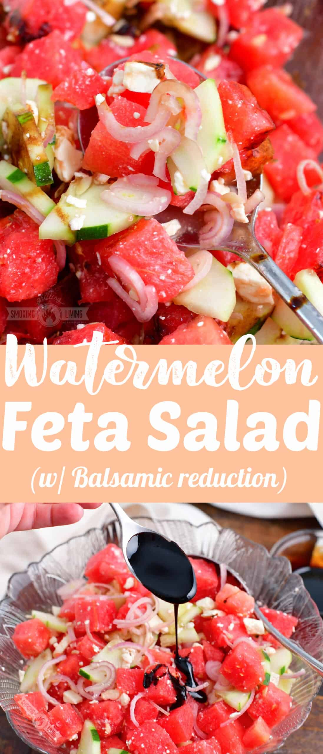title collage with two images of watermelon salad and a recipe title in the middle