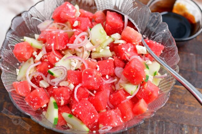 watermelon salad without the balsamic reduction mixed in a bowl
