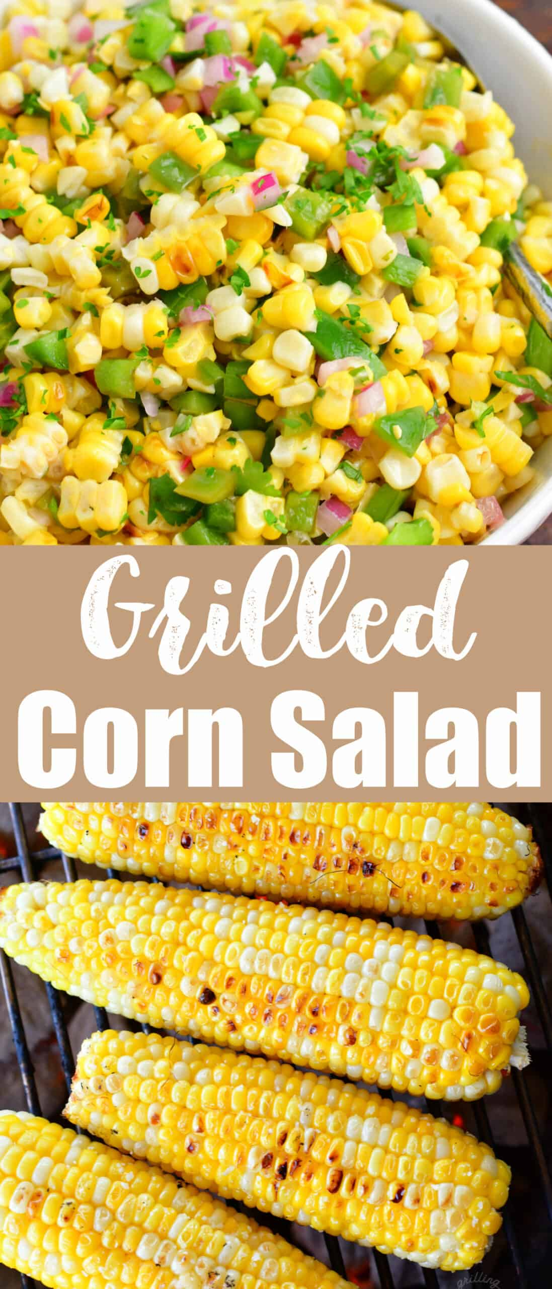 collage of two images of corn salad in a bowl and grilled corn on a grill with title