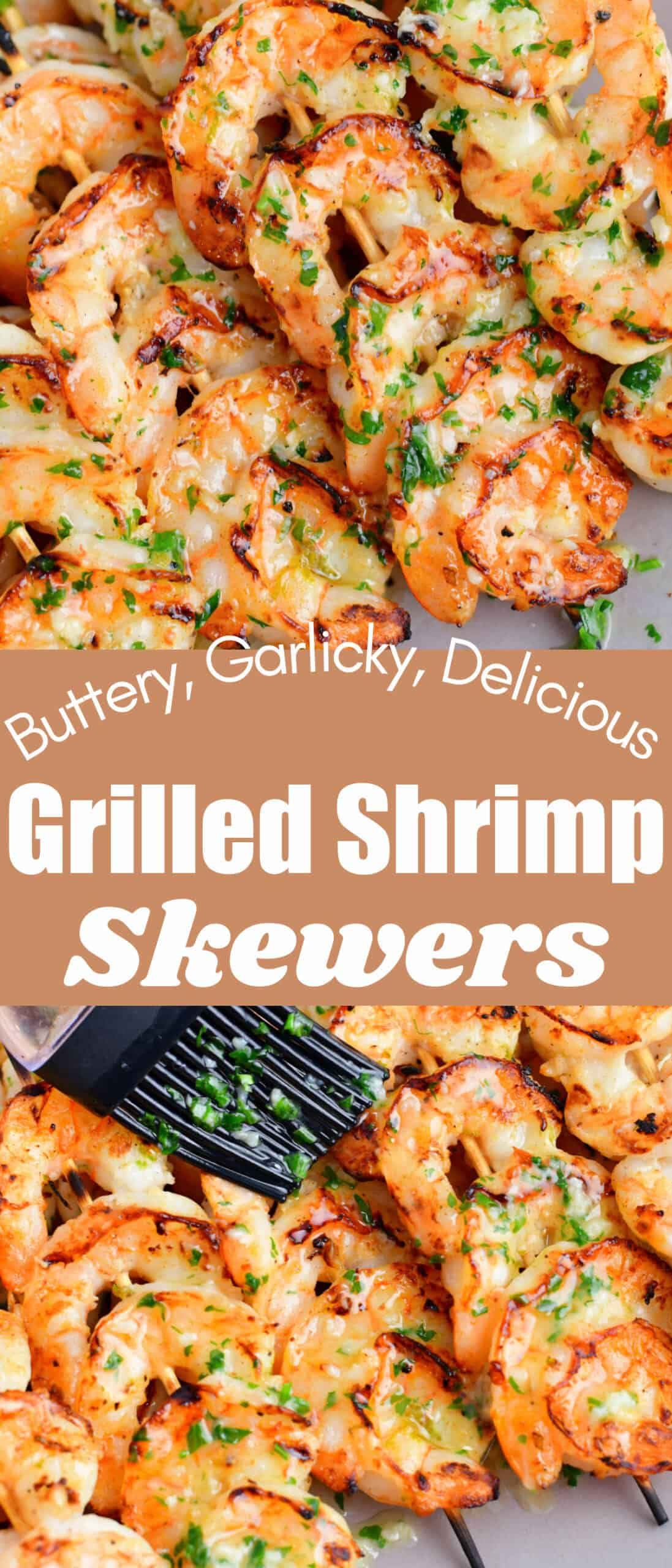 title collage of two closeup images of grilled shrimp on skewers