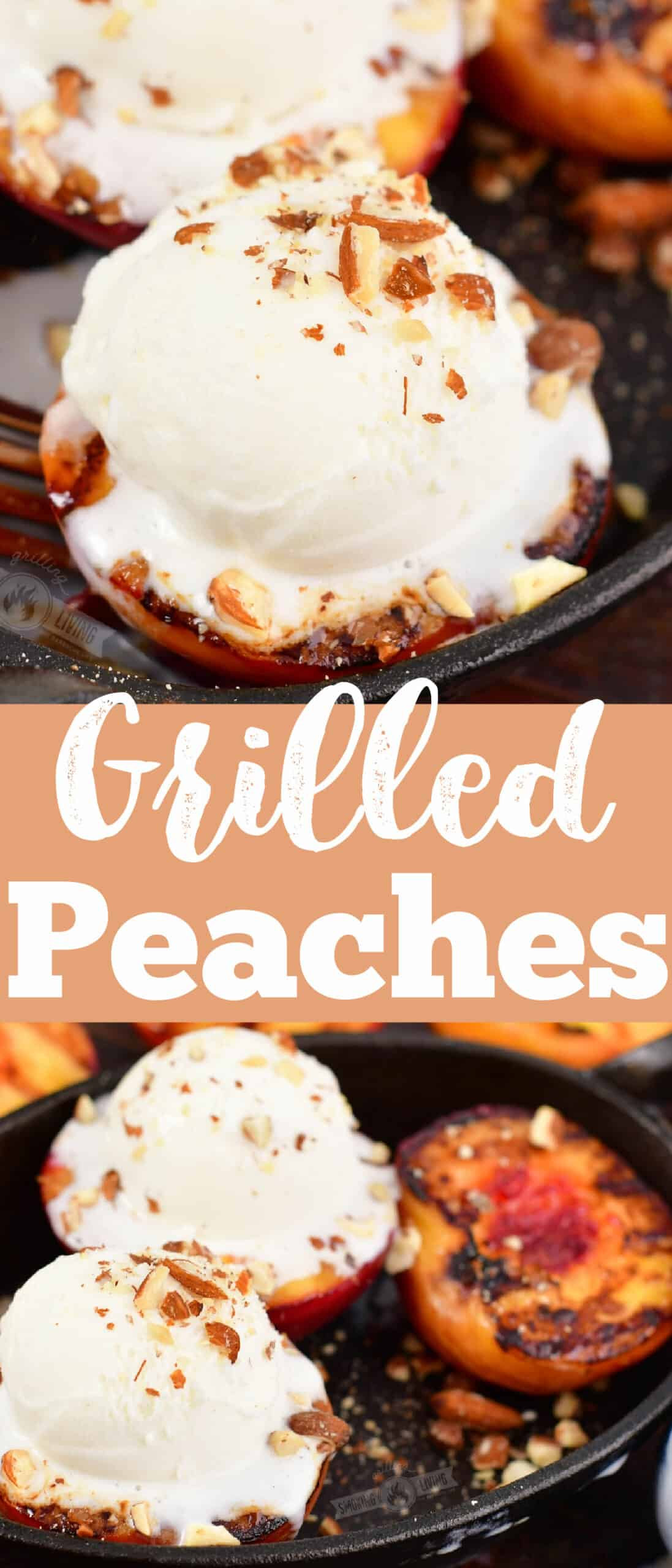 collages of two images of grilled peaches topped with ice cream