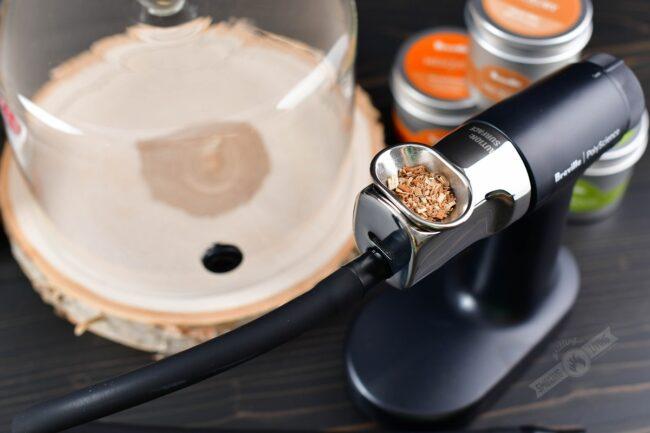 fine woodchips in a smoking gun closeup
